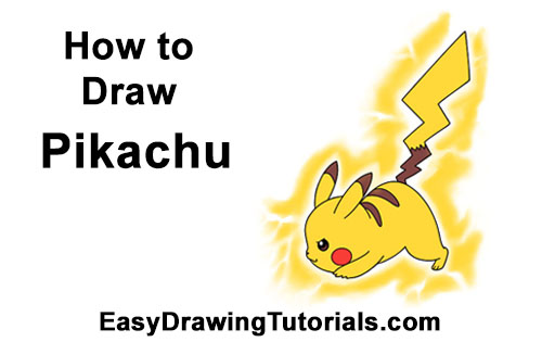 How to Draw Pikachu Pokemon Side Lightning Rod Attack Fight Battle Bold