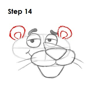 Draw Pink Panther Step 14