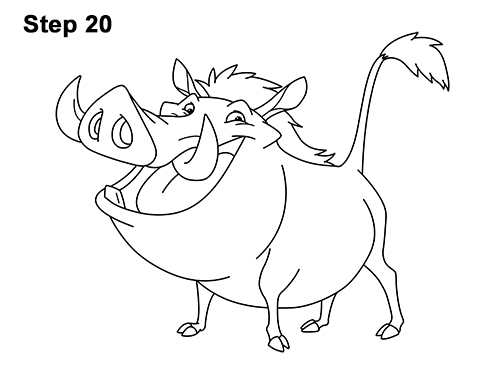 How to Draw Pumbaa Pumba Pig Warthog Lion King Disney 20