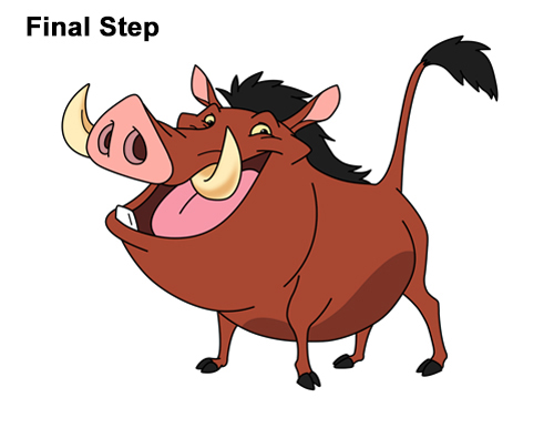 How to Draw Pumbaa Pumba Pig Warthog Lion King Disney