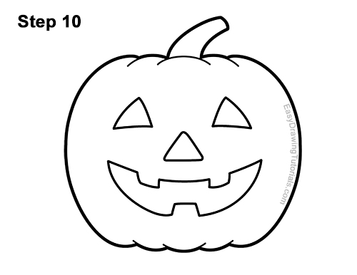 How to Draw a Halloween Pumpkin jack-o-lantern Smiling 10