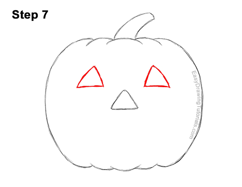 How to Draw a Halloween Pumpkin jack-o-lantern Smiling 7