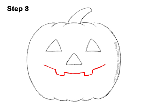 How to Draw a Halloween Pumpkin jack-o-lantern Smiling 8