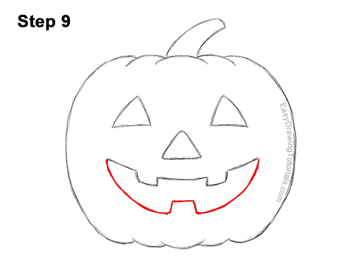 How to Draw a Halloween Pumpkin jack-o-lantern Smiling 9