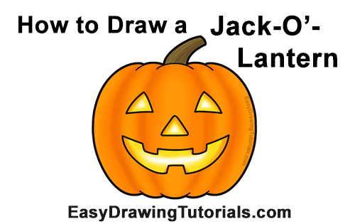 How to Draw a Halloween Pumpkin jack-o-lantern Smiling