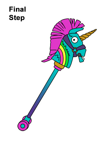 How to Draw Fortnite Rainbow Smash Pickaxe Unicorn