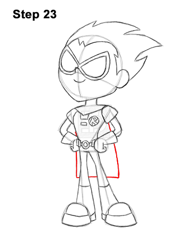 How to Draw Robin Teen Titans Go Full Body 23