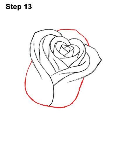 How to Draw Red Rose 13