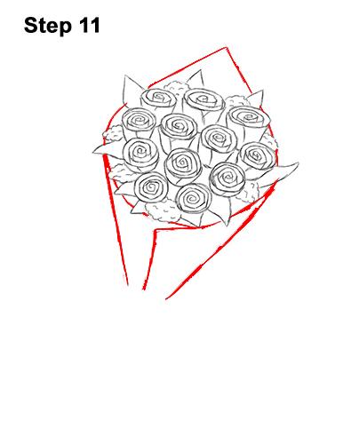 How to Draw Bouquet Dozen Roses Velentine's Day 11