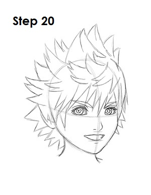 How to Draw Roxas Step 20