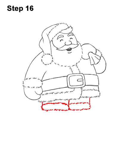 How to Draw Santa Claus Christmas Full Body 16