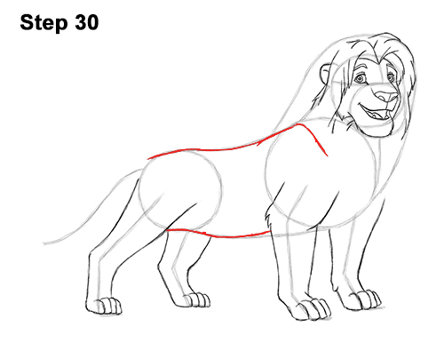 Draw Adult Grown Up Simba Lion King Disney 30