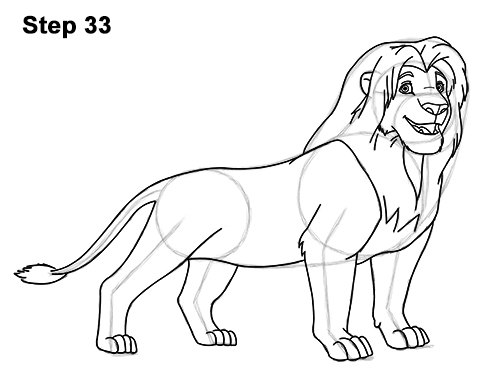 Draw Adult Grown Up Simba Lion King Disney 33