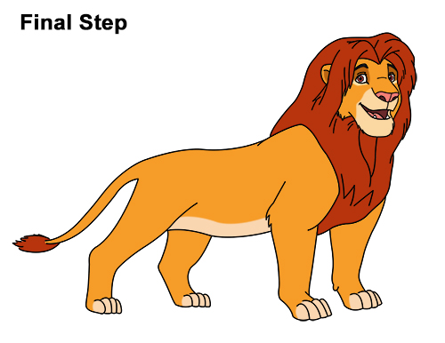 Draw Adult Grown Up Simba Lion King Disney