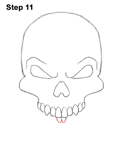 How to Draw Scary Creepy Angry Evil Skull Skeleton Halloween 11