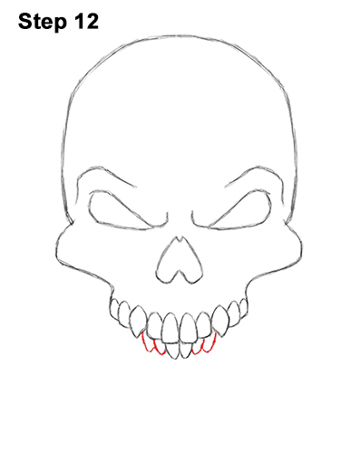 How to Draw Scary Creepy Angry Evil Skull Skeleton Halloween 12