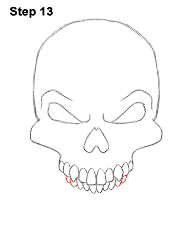 How to Draw Scary Creepy Angry Evil Skull Skeleton Halloween 13