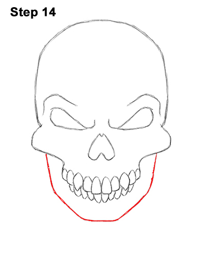 How to Draw Scary Creepy Angry Evil Skull Skeleton Halloween 14