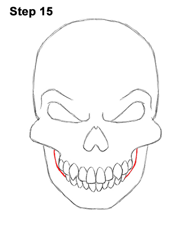 How to Draw Scary Creepy Angry Evil Skull Skeleton Halloween 15