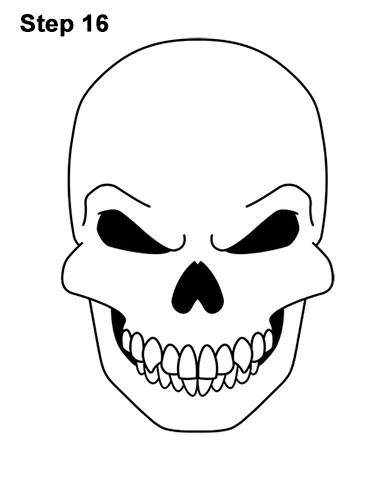 How to Draw Scary Creepy Angry Evil Skull Skeleton Halloween 16