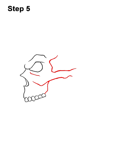 How to Draw a Scary Creepy Evil Skull Side View Halloween 5