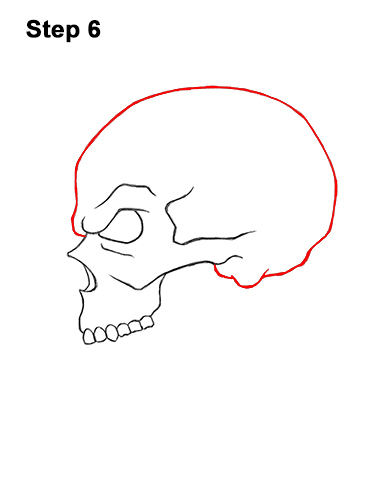 How to Draw a Scary Creepy Evil Skull Side View Halloween 6
