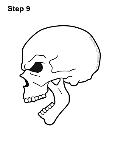 How to Draw a Scary Creepy Evil Skull Side View Halloween 9