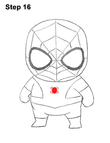 Draw Mini Chibi Little Spider-Man 16