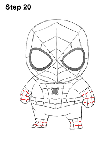 Draw Mini Chibi Little Spider-Man 20