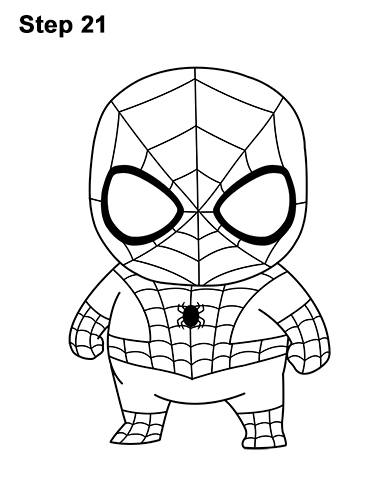 Draw Mini Chibi Little Spider-Man 21