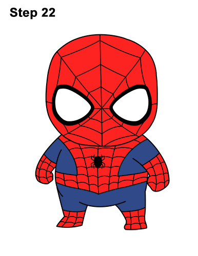 Draw Mini Chibi Little Spider-Man
