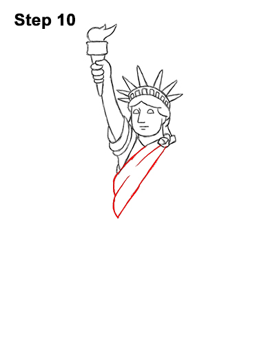 How to Draw Cartoon Statue of Liberty 10