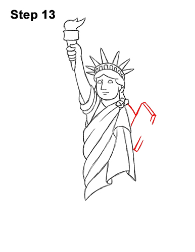 How to Draw Cartoon Statue of Liberty 13