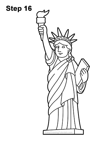 How to Draw Cartoon Statue of Liberty 16