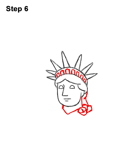 How to Draw Cartoon Statue of Liberty 6