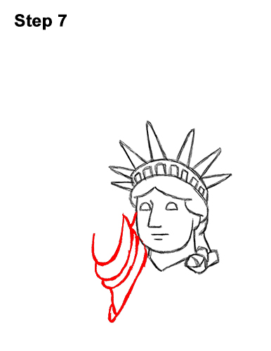 How to Draw Cartoon Statue of Liberty 7