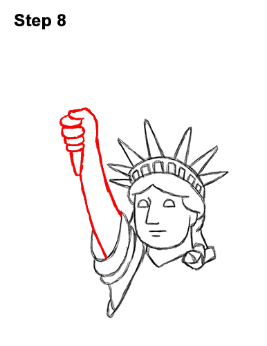 How to Draw Cartoon Statue of Liberty 8