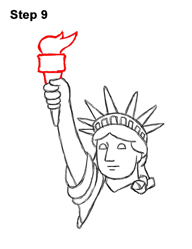 How to Draw Cartoon Statue of Liberty 9