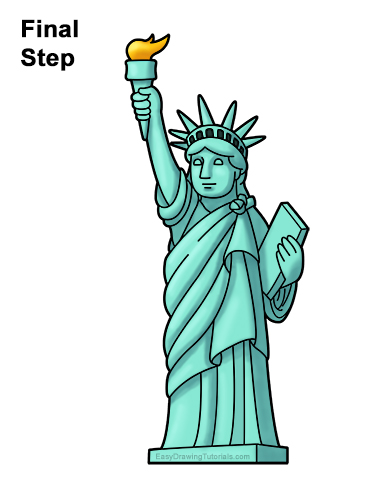 How to Draw Cartoon Statue of Liberty Clipart