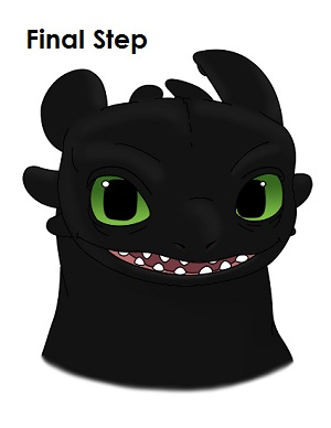 Draw Toothless Dragon Last