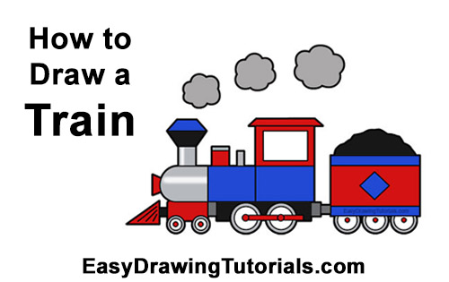 How to Draw Cartoon Choo Choo Train Locomotive