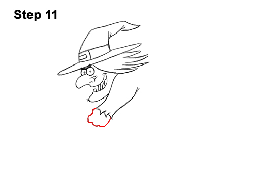 How to Draw Cartoon Witch Flying Broom Halloween 11