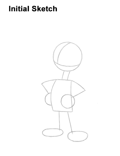 How to Draw Woody Woodpecker Full Body Guides Lines