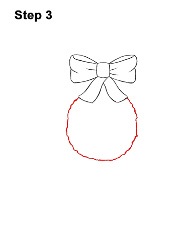 How to Draw a Christmas Wreath Bow 3