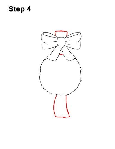 How to Draw a Christmas Wreath Bow 4