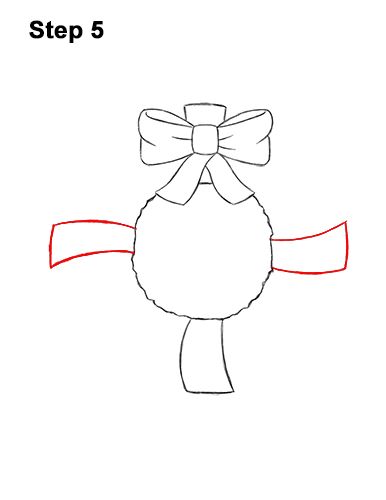 How to Draw a Christmas Wreath Bow 5