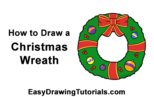 How to Draw a Christmas Wreath Bow