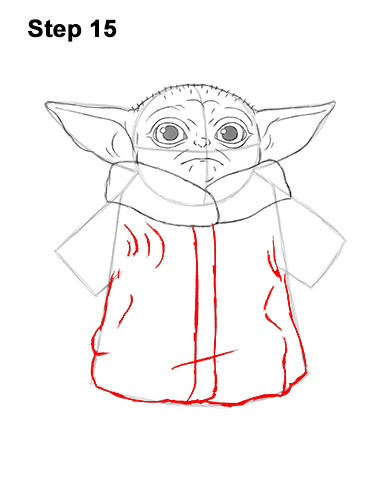 How to Draw The Child Baby Yoda Mandalorian Star Wars 15