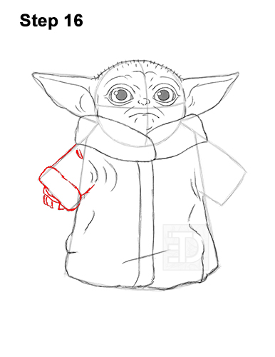 How to Draw The Child Baby Yoda Mandalorian Star Wars 16