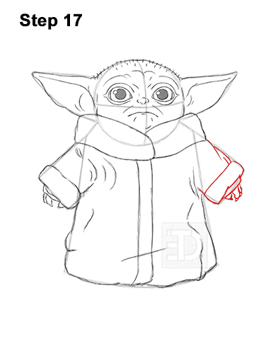 How to Draw The Child Baby Yoda Mandalorian Star Wars 17